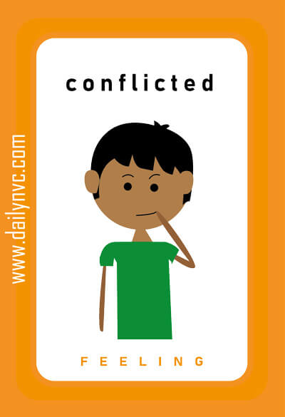 Conflicted - Feelings Cards - Daily NVC - www.dailynvc.com